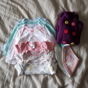 A lot of 6-9 mth old cardigan, bib, & 7 body suits